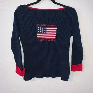 Vintage Polo Ralph Lauren flag knit sweater
